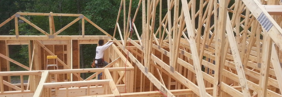 Asheville custom home Roof trusses